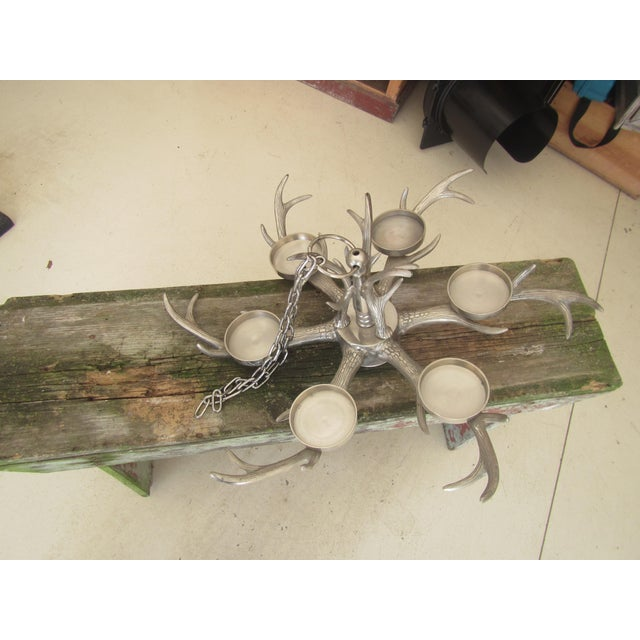 Modern Modern Aluminum Faux Antler Pillar Candle Chandelier For Sale - Image 3 of 9