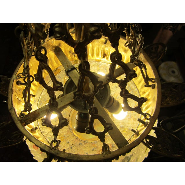 Early 20th Century Art Nouveau Italian Glass and Bronze Floral Chandelier For Sale In Los Angeles - Image 6 of 11