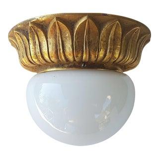 Glass Flush Mount or Sconce on Gold-Plated Base Glashütte Limburg, Germany For Sale