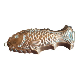 Vintage 1950s Copper Tin Lined Fish Mold For Sale