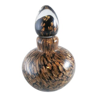 Black and Gold Swirl Perfume Bottle For Sale