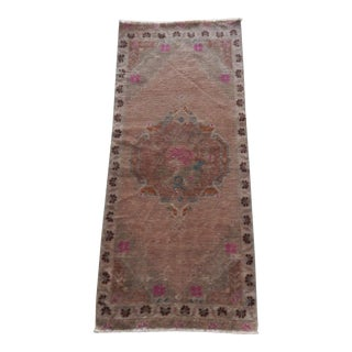 Front of Kitchen Sink Rug Hand Made Bath Mat Faded Mini Rug 1′8″ × 3′11″ For Sale