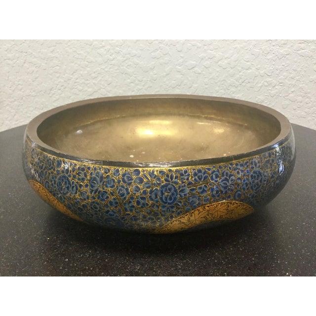 Antique Indian Kashmir Lacquer Paper Mache Bowl For Sale - Image 11 of 12