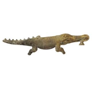 "Lg Bronze African Ashanti Akan Sculpture - Crocodile 11"" W For Sale"