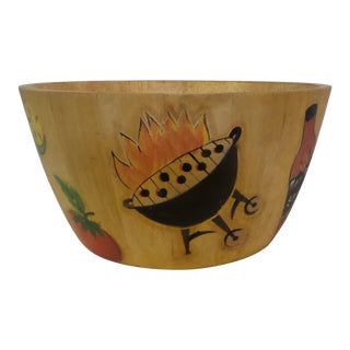 "1990's Clay Art Folk Art Wood Hand Painted 12"" Salad Bowl"
