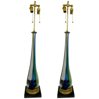 Pair of Elongated Teardrop Shaped Fluted Murano Glass Lamps, Circa 1950s For Sale