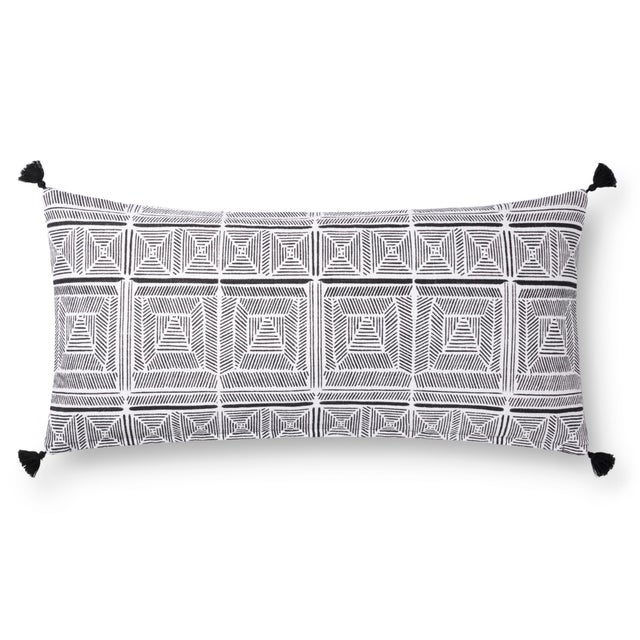 """Contemporary Justina Blakeney X Loloi Black / White 12"""" X 27"""" Cover with Down Pillow For Sale - Image 3 of 3"""