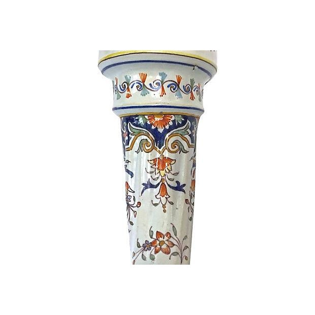 White Antique Faience Ram's Head Trumpet Vase For Sale - Image 8 of 10