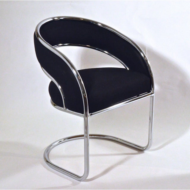 S / 4 Mid Century Modern Upholstered Chrome Sling Back Dining / Side Armchairs by Contemporary Shells Inc. - Image 5 of 5