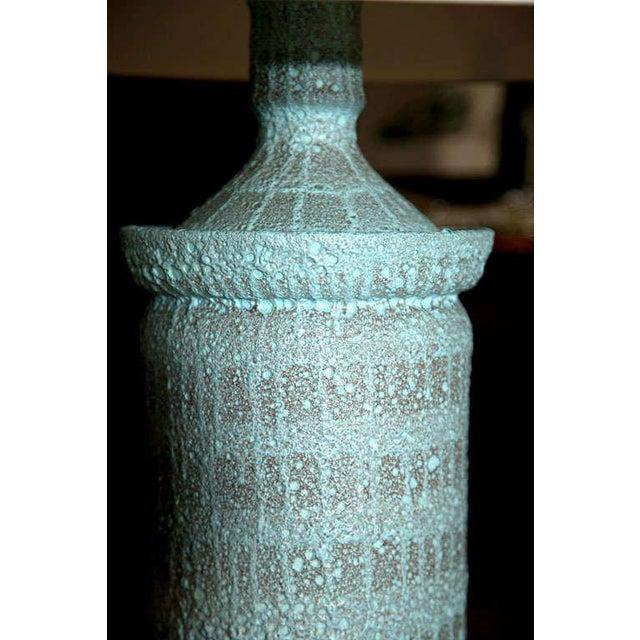 "1960s Vintage Pale Blue ""Lava"" Ceramic Lamp For Sale - Image 16 of 22"
