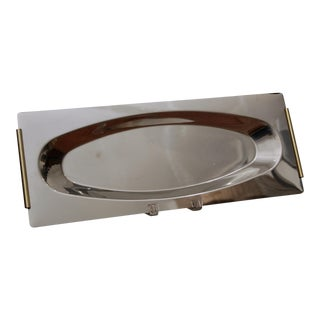 "20.25"" Inoxbeck Italian Steel & Gold Plated Serving Tray For Sale"
