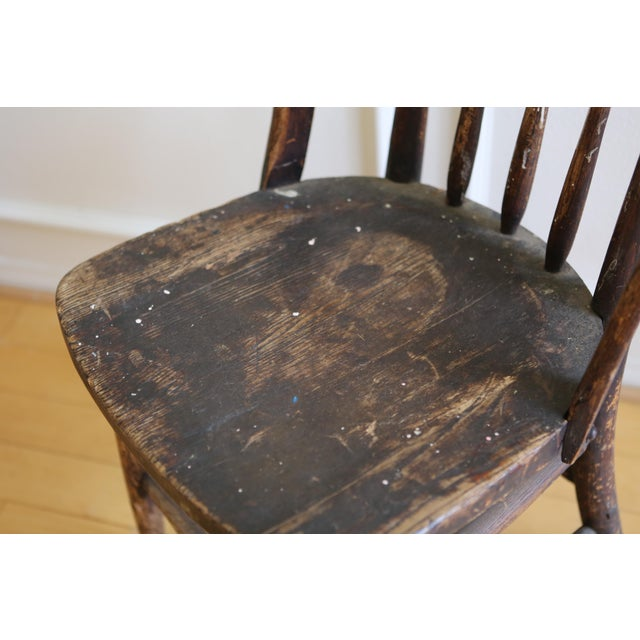 Antique American Primitive Accent Wood Chair - Image 5 of 9