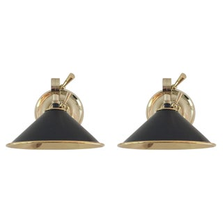 Urban Electric Maxine Brass & Black Sconces - A Pair