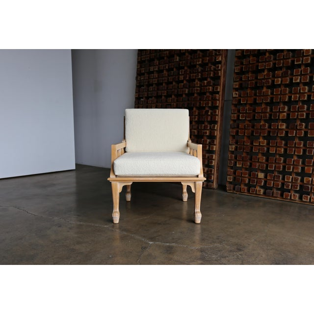 """John Hutton """"Thebes"""" Chair for Randolph & Hein circa 1976. New Holly Hunt Boucle Upholstery."""