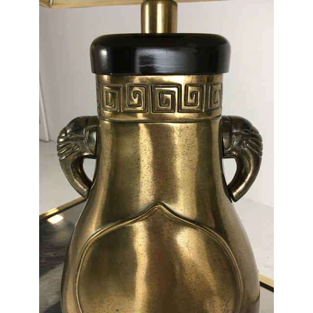 Paul Hanson Brass Paul Hanson Elephant Lamp With Green Pagoda Style Shade For Sale - Image 4 of 9