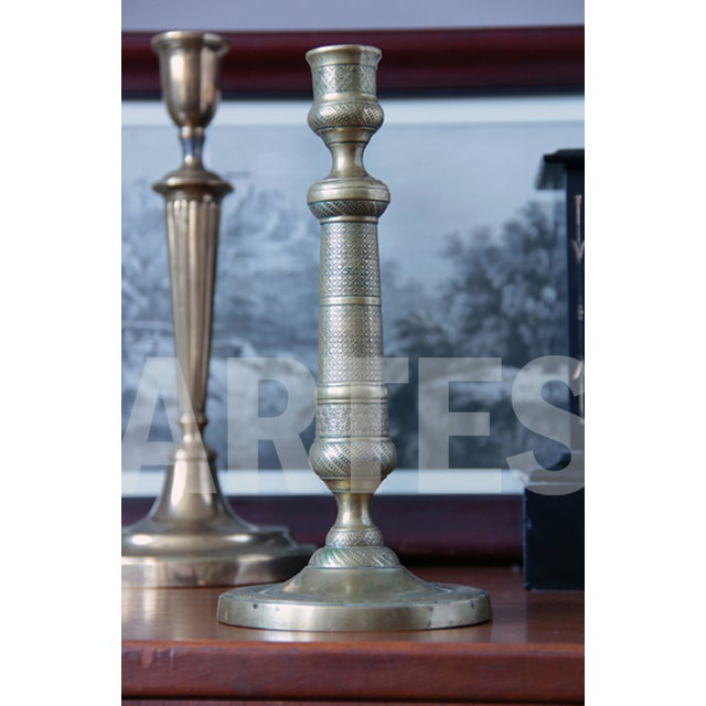 Early 20th Century French Empire Bronze Candlestick. Early 19th Century For Sale - Image 5 of 5