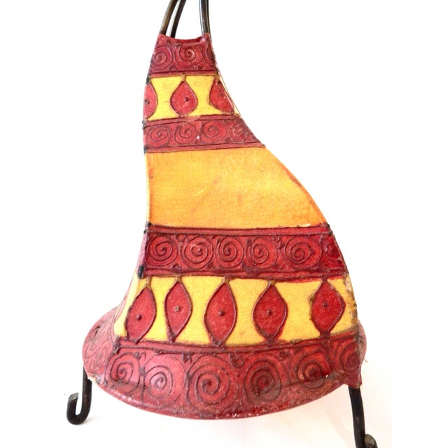 Superb interesting shape Moroccan colorful parchment small lamp. The lamp is hand painted and decorated with high relief...