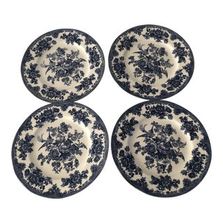 Asiatic Pheasant Johnson Brothers Blue and White Plates - 4 Pieces For Sale