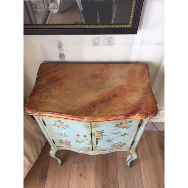 1970s Vintage Comodino Rustic Floral Side Table For Sale - Image 5 of 10