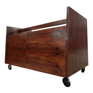 Vintage Rolling Rosewood Magazine or Record Cart by Rolf Hesland for Bruksbo For Sale