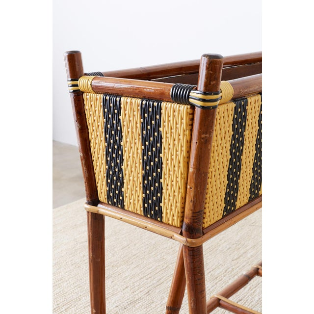 Yellow French Maison Gatti Bamboo Rattan Jardinière Planter For Sale - Image 8 of 13