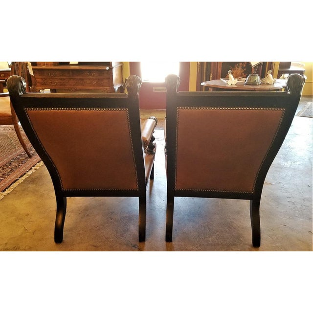 Late 19th Century British Dark Walnut Library Chairs With Lions Heads - a Pair For Sale - Image 5 of 11