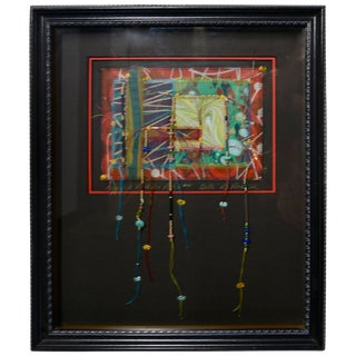 Billi R.S.Rothove Beaded Pattern Patch Mixed Media Framed Art For Sale