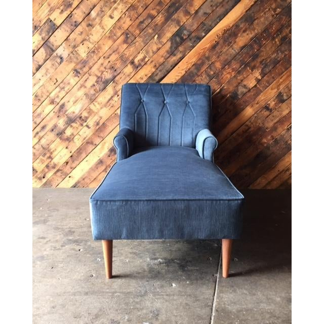 Mid Century Reupholstered Tufted Extended Lounge Chair - Image 3 of 7
