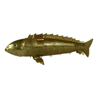 Late 20th Century Articulating Japanese Brass Fish For Sale
