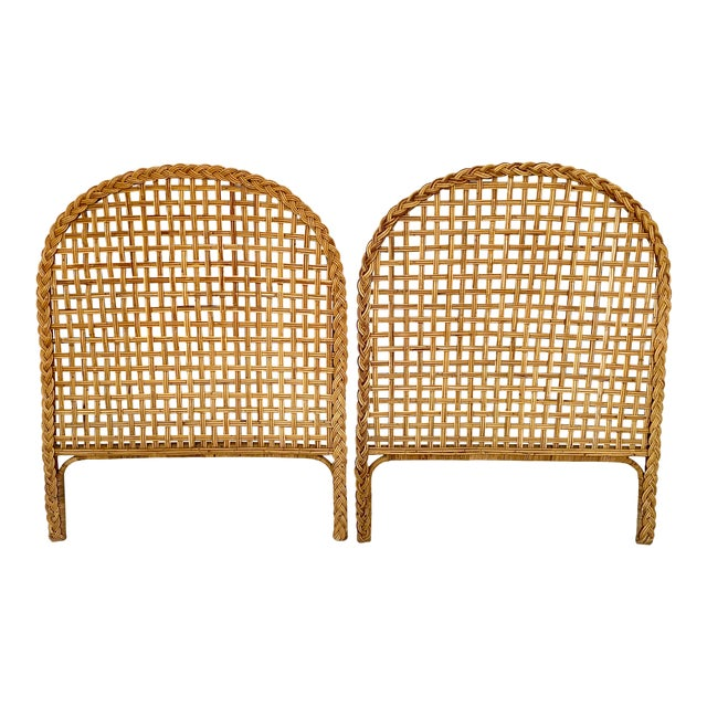 Vintage Woven Braided Rattan Headboards- a Pair For Sale