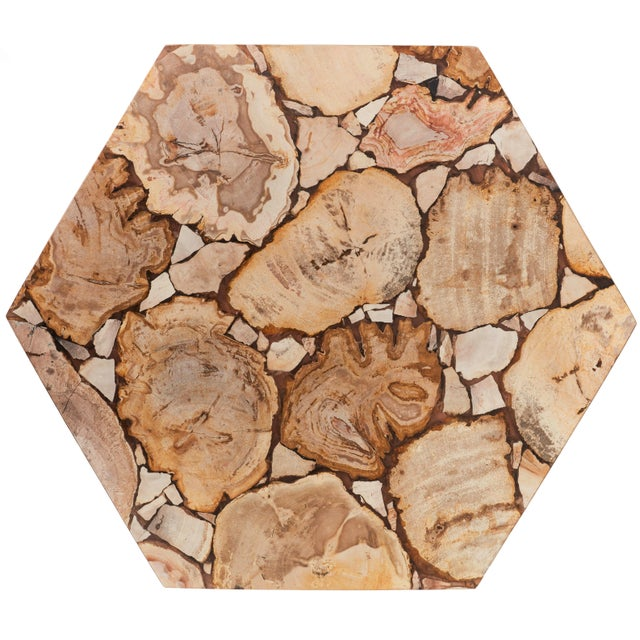 Hexagon Petrified Wood Stool, Natural Light For Sale - Image 4 of 6