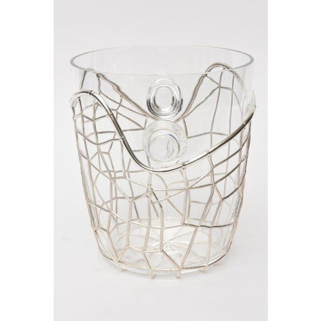 Modern Italian Pampaloni Sterling Silver & Glass Sculptural Ice/Champagne Bucket For Sale - Image 3 of 10