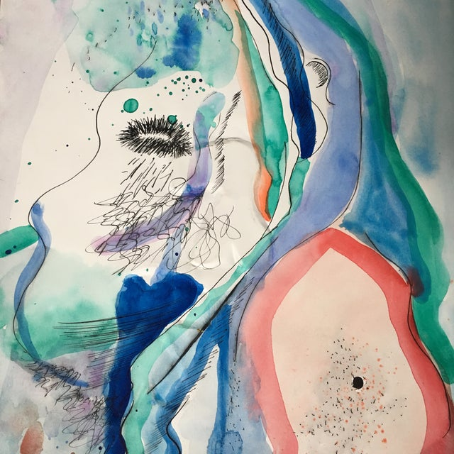 Abstract Portrait Watercolor Mixed Media Painting For Sale - Image 4 of 4