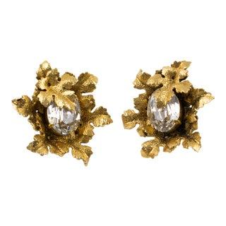 Sonia Rykiel Paris Signed Gilt Metal Leaves With Huge Rhinestone Clip Earrings For Sale