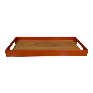 Contemporary Interlude | Orange and Wood Tray | S For Sale