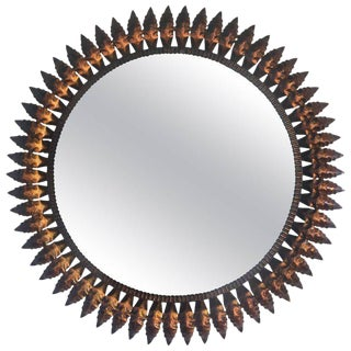 Mid-Century Spanish Sunburst Round Copper Mirror, 1950s
