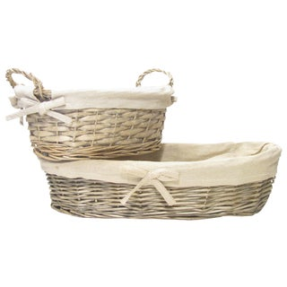 French Bread Baskets W/ Linen Liners, Pair For Sale