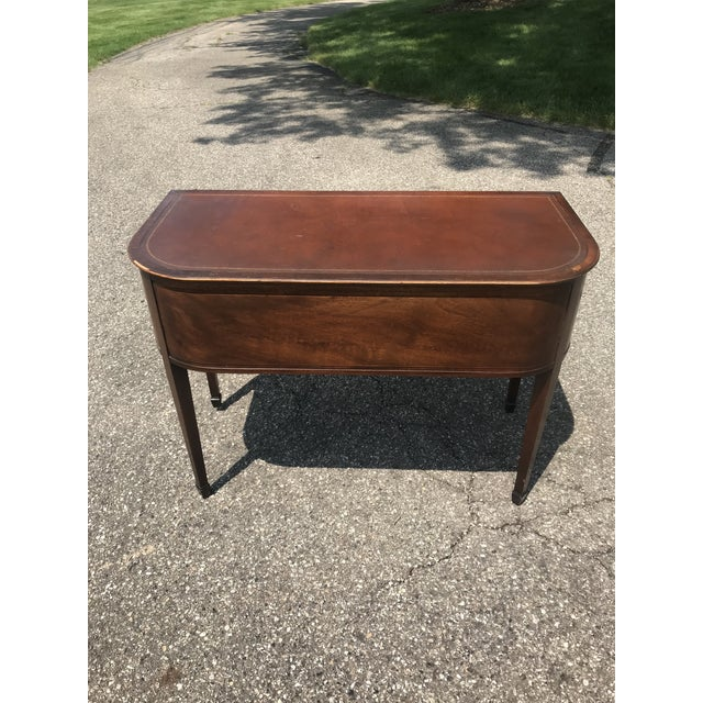 Brown Barrel Back Walnut Desk With Leather Top Made by Baker Furniture For Sale - Image 8 of 11