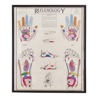 Colorful Reflexology Print, Framed Vintage Art 1979. For Sale