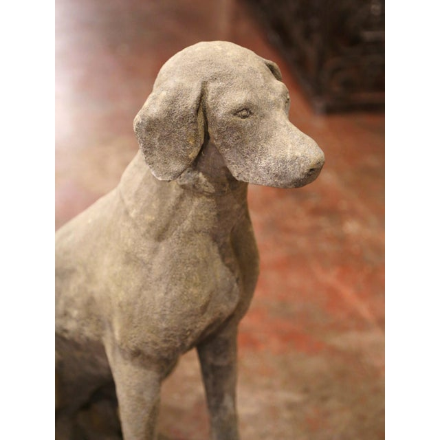 Stone Large French Carved Stone Verdigris Patinated Labrador Dog Sculptures - a Pair For Sale - Image 7 of 9