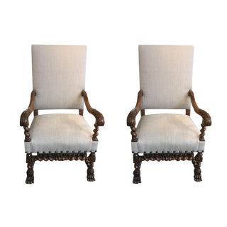 Pair of French Antique Upholstered Chairs