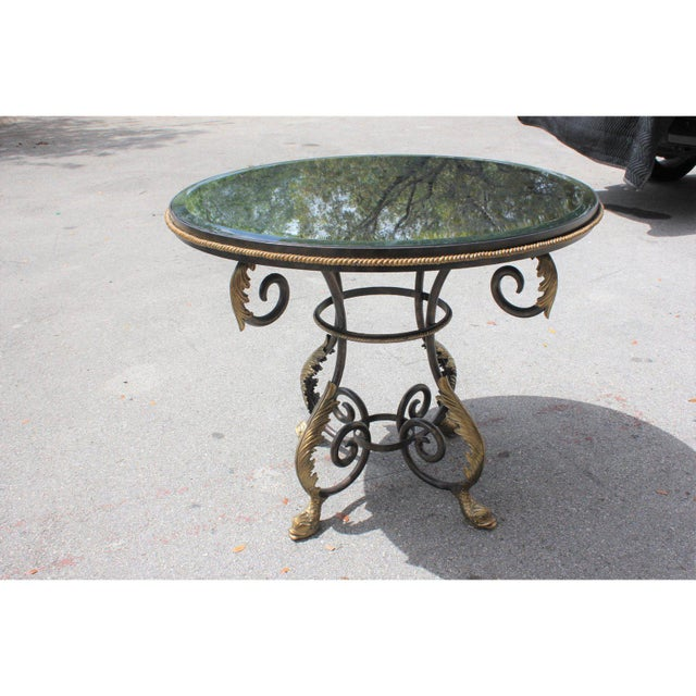 Metal 1950s French Art Deco Iron Center Table For Sale - Image 7 of 12