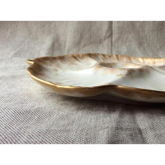 "For Your Consideration.... A fine Handmade porcelain.oyster plate... Measures 9 "" No Chips,Flakes oir Cracks French..."