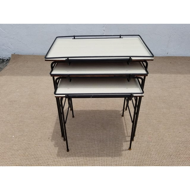 1960s Mathieu Mategot Style Nesting Tables - Set of 3 For Sale - Image 5 of 12