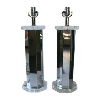 Vintage Chrome & Lucite Three-Way Lamps - A Pair