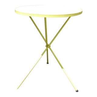 1970s Vintage Mid-Century Modern Lime Round Bistro Table For Sale