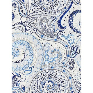 Sample, Scalamandre Malabar Paisley Embroidery Porcelain Fabric For Sale