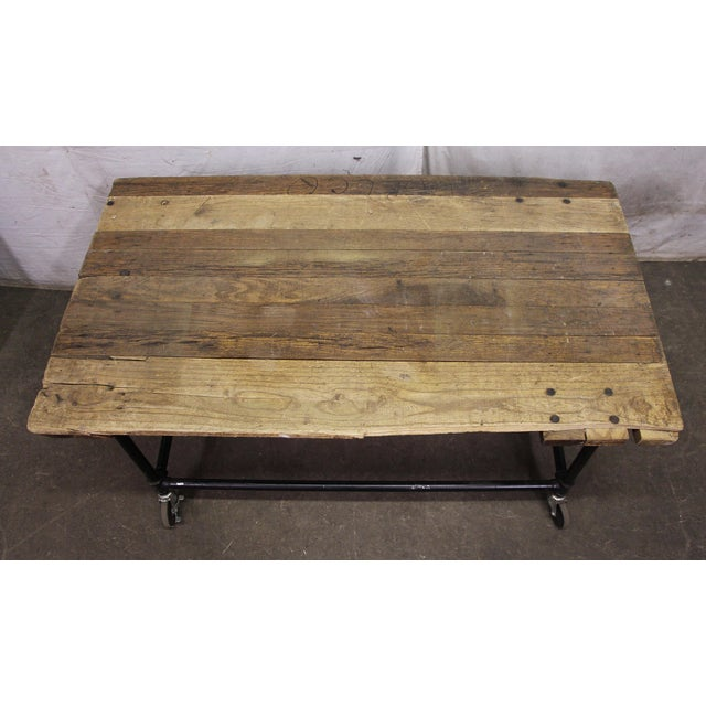 Industrial Rustic Work Table on Wheels For Sale - Image 3 of 6