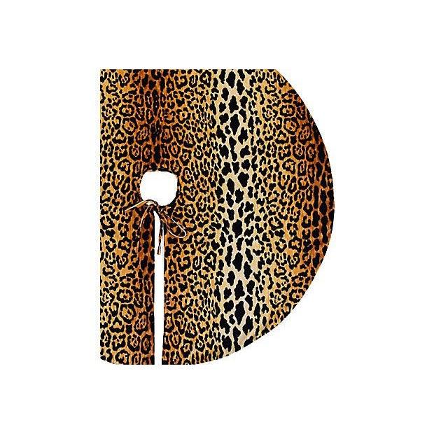 """Custom Tailored X-Large 55"""" Leopard Spot Velvety Christmas Tree Skirt - Image 8 of 9"""