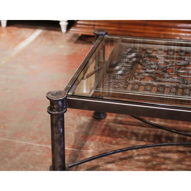 Black Iron Coffee Table Made With 19th Century French Gate Balcony With Glass Top For Sale - Image 8 of 13